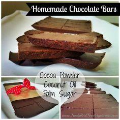 Homemade Chocolate Bars 3 ingredients. Cocoa, palm sugar, coconut oil. Healyeatsreal.com
