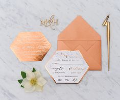 geometric copper wedding invites