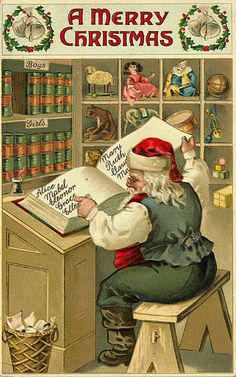 Merry Christmas - Santa checking his list to see who's been naughty or nice