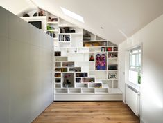 Built in shelves. I think I would make one or two of the openings into windows Tiny House Movement // Tiny Living // Tiny House on Wheels // Tiny House Stairs // Tiny Home Shelves // Tiny Home Tiny Spaces, Loft Spaces, Loft Apartments, Loft Design, House Design, Attic Design, Design Design, Escalier Design, Attic Rooms