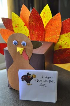 It is made out of a small tissue box so every day during the month of November we can write down something we are thankful for and feed it to our turkey. On Thanksgiving day while we are all together as a family, we will get all the papers out and read them together as a family.