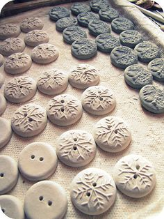 Make your own buttons from polymer clay and stamps.
