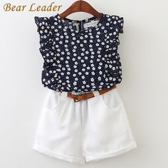 Lucky Deal $7.99, Buy Bear Leader 2017 New Casual Children Sets Flowers Blue T-shirt+ White Pants With Pu Belt Girls Clothing Sets Kids Summer Suit