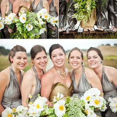 gold wedding dress, silver bridesmaids dresses