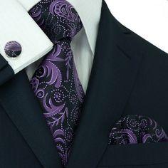 Black and Purple Paisley Necktie Set JPM309 – Toramon Necktie Company