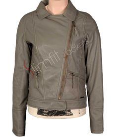 Women's Biker Tonal Grey Leather Jacket. #Menswear #leatherjacket #coat #outfit #Fashion #Kids #Women #Jacket - For more queries visit: Slimfitjackets.com