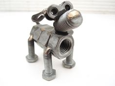 welded nuts and bolts dog sculptures