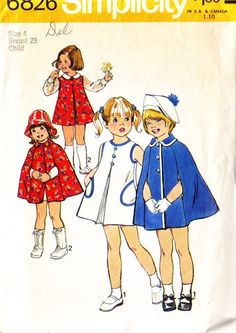 Simplicity 6826 | simplicity 6826, vintage 70s girls' jumper dress and cape pattern ...