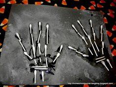 Halloween Week Art and Science: Negative Art and Hand Bones