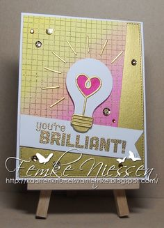 "made by femke niessen: you're brilliant!. used several MFT stamps and dienamics. MFT dienamics ""blueprints 15, fishtail flags, lightbulb"","