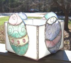 Easter Eggs Stained Glass Spring Candle Holder or от hobbymakers