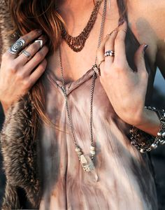 acid tie dye wash and faux fur in earth tones and gem stone necklace