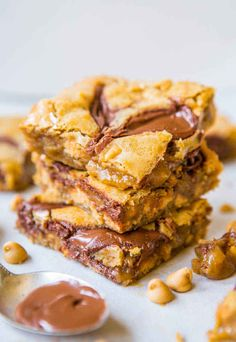 Nutella-Swirled Peanut Butter Chip Blondies | 27 Amazingly Easy One-Bowl Desserts |  I don't know about you, but that photo is giving me feelings. There's also a Flourless Double-Chocolate Pecan Cookie recipe, among many other glorious choices.