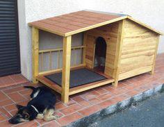 Niche en bois pour grand chien niche,niche grand chien,niche isolée,niche avec perron