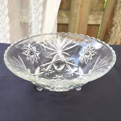Anchor Hocking Star of David Prescut Bowl Etched Glass Clear    $18