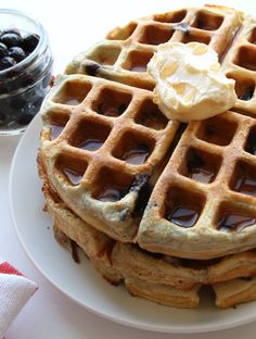 Each one of these Blueberry Waffles has 25g of protein, and less than 200 calories! And you only need 5 ingredients to make them