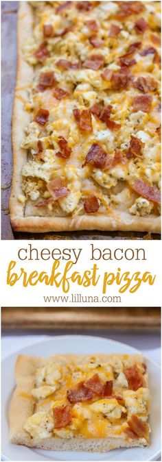 Bacon Breakfast Pizza - a cheesy breakfast recipe topped with eggs, bacon and your favorite breakfast ingredients! We love this simple, tasty recipe! paleo breakfast casserole