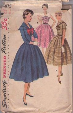 Simplicity 4875 Vintage 50's Sewing Pattern JAUNTY Lucy Rockabilly Sailor Collar Full Skirt Party Dress Set Size 15. $18.99 momspatterns.com