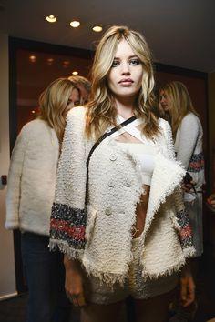 Sonia Rykiel Spring 2015 Paris Fashion Week - backstage with Georgia May Jagger.