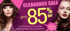 Clearance Sale: up to 85% off. 100% human hair, limited quantities..don't miss out!