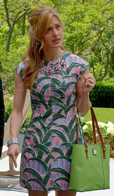 Paige's pink and green tropical leaf print dress on Royal Pains.. Love this outfit. The colors are wonderful. #stitchfix