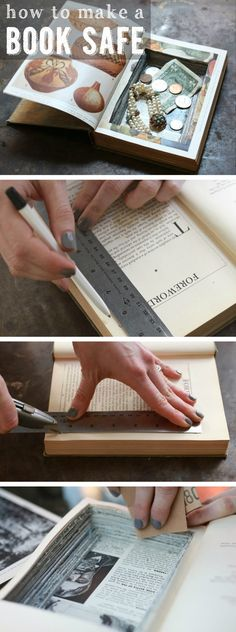 "Yes! A book safe is such a fun project and adds a whole other level of cool to your bookcase. Keep all your trinkets and valuables out, in plain sight without anyone knowing they are there! DIY instructions here: <a href=""http://www.ehow.com/how_2087584_make-book-safe.html?utm_source=pinterest.com&utm_medium=referral&utm_content=inline&utm_campaign=fanpage"" rel=""nofollow"" target=""_blank"">www.ehow.com/...</a>"