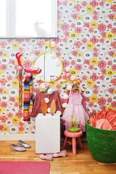 bright + colorful girl's room, floral wallpaper, via Family Living