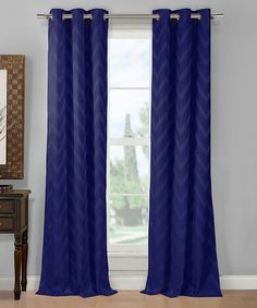 Navy Chevron Curtain Panel - Set of Two   zulily-like the curtains....to cover the door