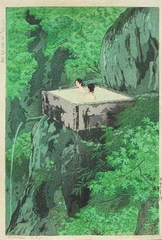 """Shiro KASAMATSU (1898-1991) Title""""Shirahone Hotspring, Shinshu"""" (""""**"""") Date1935 (1946-57 printing) ProvenancePrivate placement. Consigned by family of Air Force serviceman John Kinney stationed in Tokyo 1946-57. Seriesna PublisherWatanabe Shozaburo Seal, Carver/PrinterBlack """"6-mm seal"""" lower/right (used only 1946-57)"""