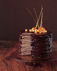 Darkest Chocolate Crepe Cake by marthastewart #Chocolate_Cake #marthastewart