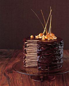 Darkest Chocolate Crepe Cake by marthastewart #Chocolate_Cake #marthastewart