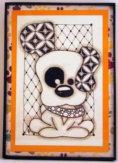 Puppy Dog  Zentangle Inspired Original Artwork by DoodlesByJenAnn, $15.00
