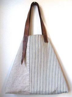 Sail Away Tote - Antique Ticking Stripe Cotton, Irish Linen, Repurposed Leather Tote Bag Purse Diese und weitere Taschen auf www.designertaschen-shops.de entdecken