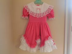 Size 6X Vintage Girl Pink Frilly Ruffle Lace Dress  by LittleMarin