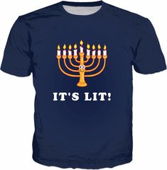 Hanukkah It's Lit T-Shirt - Menorah Funny Jewish Holidays