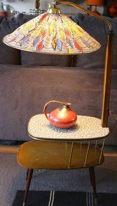Lampe mit Nierentisch 50er Rockabilly RAR! Lampentisch Atomic Beistelltisch