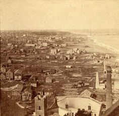 Looking north from the top of the Water Tower, weeks after the Great Fire, 1871, Chicago.  Chicago History Museum