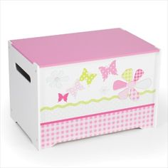 Patchwork Butterflies and Flowers Kids Toy Box - Childrens Bedroom Storage Chest with Bench Lid by HelloHome Childrens Storage Boxes, Childrens Bedroom Storage, Kids Toy Boxes, Fabric Storage Boxes, Toy Storage Boxes, Kids Storage, Storage Chest, Kids Toys, Pink Toy Box