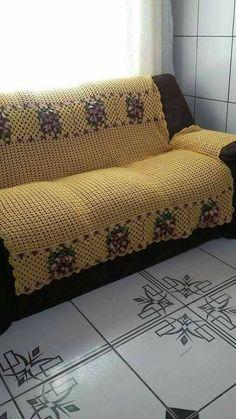 Crochet Bedspread, Crochet Quilt, Crochet Doilies, Crochet Designs, Crochet Patterns, Sewing Patterns, Crochet Furniture, Blue Couches, Custom Cushions