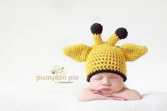 Giraffe Baby Hat MADE TO ORDER Choose Size Newborn-Toddler. $30.00, via Etsy.
