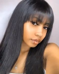 Human Hair Wigs with Bangs for African American Lace Front Wigs Straight Wig with Bangs Hair Baddie Hairstyles, Hairstyles With Bangs, Weave Hairstyles, Straight Hairstyles, Black Hairstyles With Weave, Hairstyles Videos, Black Women Hairstyles, Medium Hair Styles, Curly Hair Styles