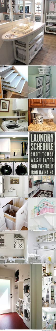 Laundry room ideas: tabla de planchar y armario con ropa sucia