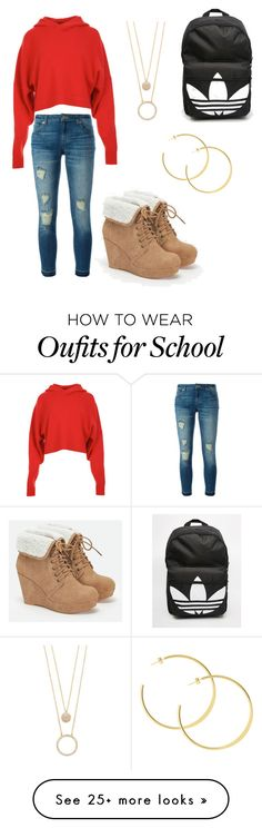 """Casual High school day part 1"" by liseypooh on Polyvore featuring TIBI, MICHAEL Michael Kors, Kate Spade, JustFab and adidas"
