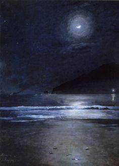 "Dario de Regoyos (1857-1913, Espagne) ~ ""The Beach of Almeria by night"", 1882 ~ Oil on Canvas 120 x 90 cm"