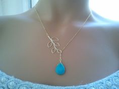 Leaves with turquoise Lariat Necklace.