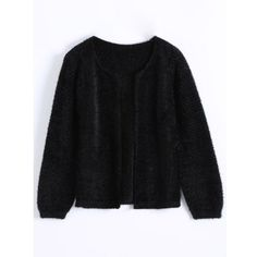 Short Fuzzy Knitted Cardigan Black (112910 PYG) ❤ liked on Polyvore featuring tops, cardigans, fuzzy cardigan, cardigan top, short tops and short-sleeve cardigan