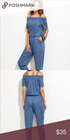 Open shoulder jumpsuit with pockets Never been worn so marking as NWT but there are no tags on it. Super comfortable. True to size. Asos Other