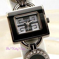 OMAX Ladies Waterproof Swiss Seiko Crystal Hematite Black Bracelet G Watch O004