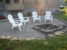 stones around a gravel spot with a nice little firepit