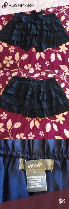 NWOT Aerie Navy Ruffled Shorts NWOT Aerie lounge shorts - cute 4-tiered ruffle detail - elastic waist with ribbon tie - never worn aerie Intimates & Sleepwear Pajamas